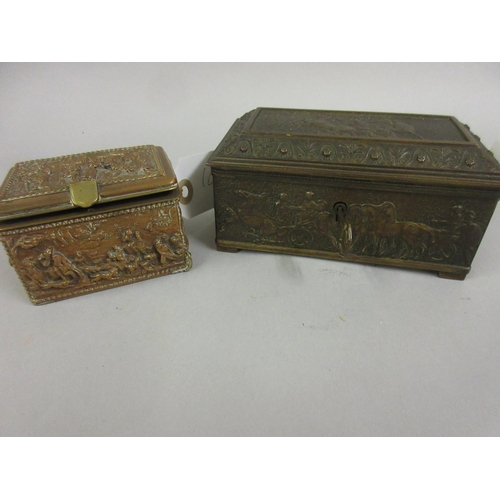 102 - Small rectangular bronzed metal casket together with a smaller metal casket relief moulded with hunt...