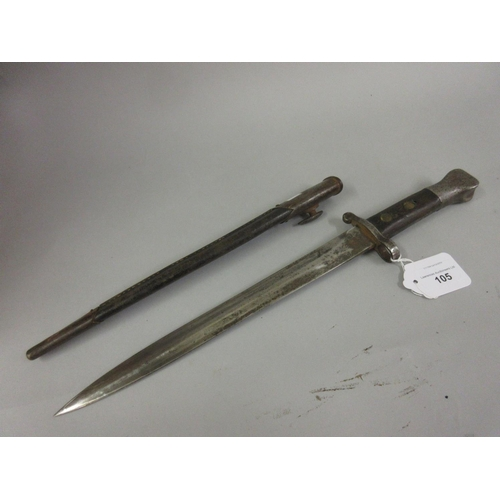 105 - German bayonet with a scabbard, the 11.75in blade inscribed W.R. below a crown...