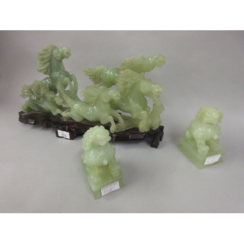 118 - 20th Century carved jadeite group of galloping horses together with a pair of similar figures of Kyl...