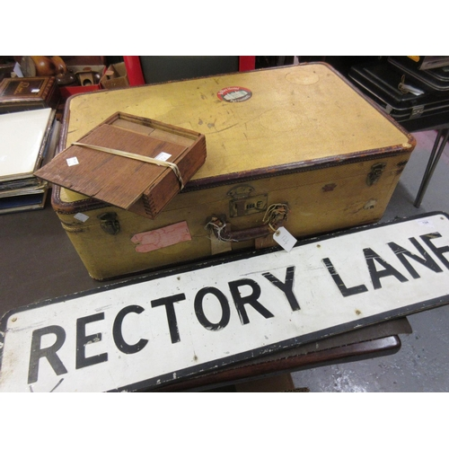 124 - 20th Century ' Rectory Lane ' road sign, mounted on wooden backing board and a vintage suitcase with...