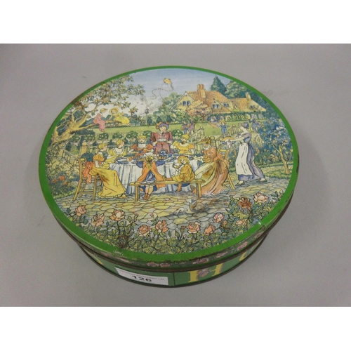 126 - Huntley and Palmer's circular biscuit tin, the cover printed with figures at a tea party, 8ins diame...