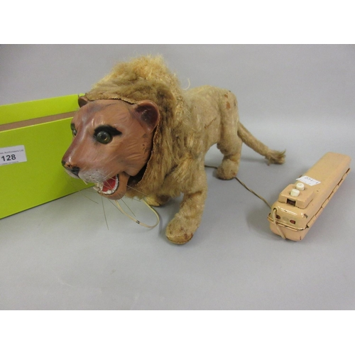 128 - 1950's / 60's Japanese tin plate plush covered battery operated figure of a lion...