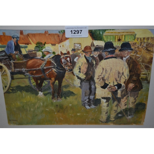 1297 - R. Mann, mixed media, figures at a horse fair, signed R. Mann, 7.75ins x 10.5ins, framed...