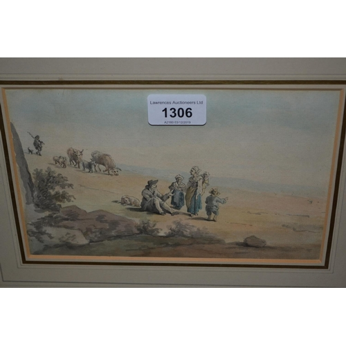 1306 - 18th / 19th Century watercolour, figures and oxen in a landscape, unsigned, 5ins x 8.5ins, gilt fram...