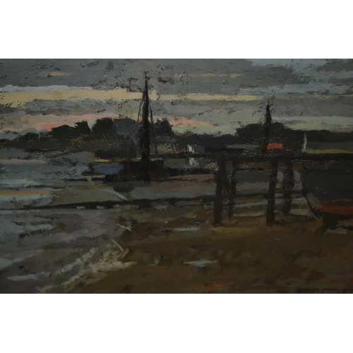 1309 - Sonia Stone-Hill, oil on board, view at Burnham on Crouch, Essex, signed and dated 1964 ?, 9.5ins x ...