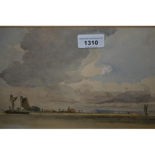 1310 - Attributed to J.C. Gooden, 1835 - 1875, watercolour, coastal scene with sailing vessels and distant ...