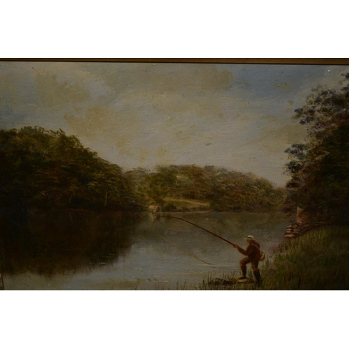 1317 - Pair of late 19th Century oil paintings on board, angler in a river landscape and figure with a boat...