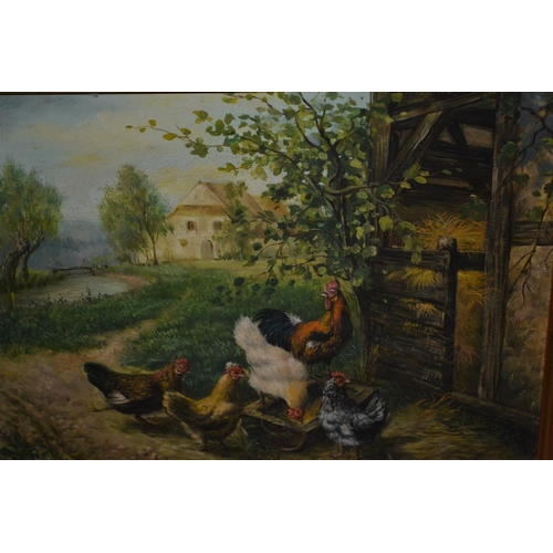 1322 - Late 20th Century oil on board, chickens before a barn, signed A.L. Fevri, 8ins x 10ins, gilt framed...