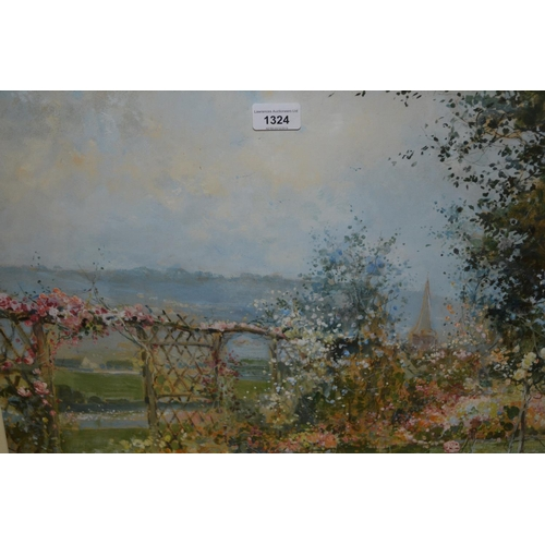 1324 - Philip E. Stretton, gouache ' The Rose Garden ', signed and dated August 1919, 18ins x 24ins, gilt f...
