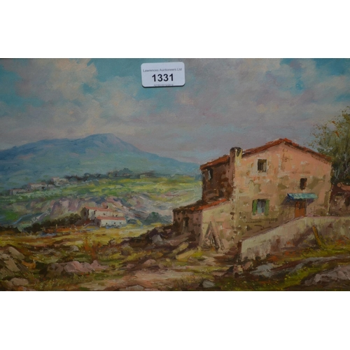 1331 - G. Pugliese, oil on canvas, dwellings in a Continental landscape, signed, 12ins x 18ins, in a silver...