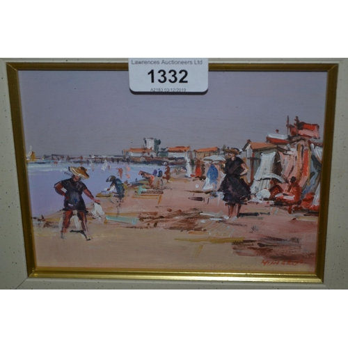 1332 - Modern Continental oil on board, beach scene with figures, together with another similar, rural land...