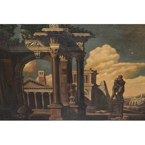 1333 - 17th / 18th Century Continental school, oil on canvas, classical ruins in a landscape, unsigned, 31i...