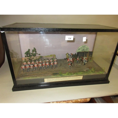134 - 20th Century ebonised and glazed case displaying a scene from the morning of the battle of Waterloo...
