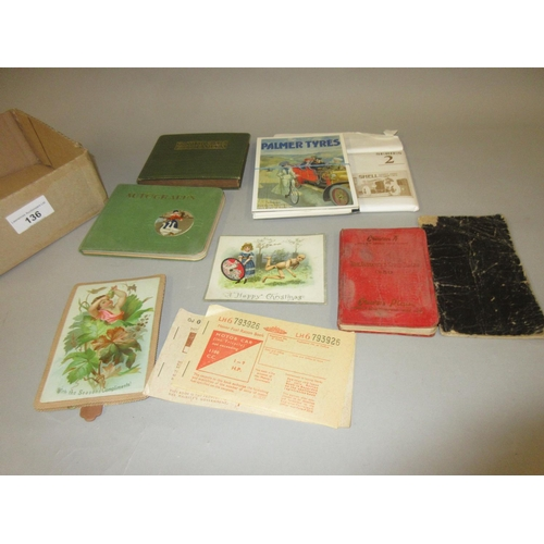 136 - Quantity of small autograph albums, rations books, Christmas cards, postcards and a 1950's timetable...