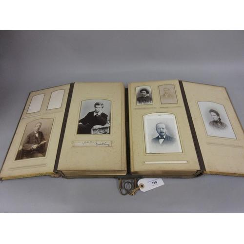 139 - Victorian double section photograph album (at fault)...