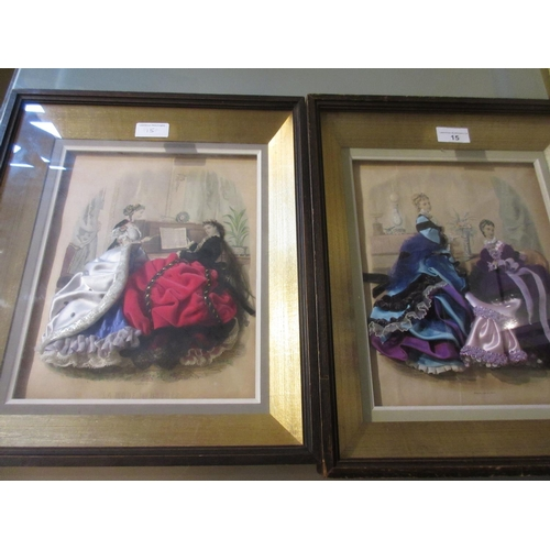 15 - Pair of French fashion prints / collages depicting ladies in interiors, each in a boxed display fram...