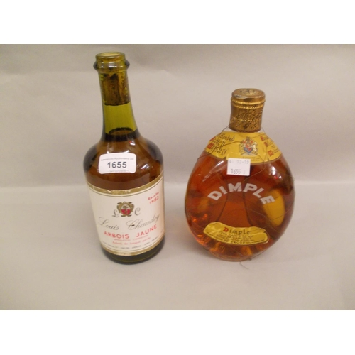 1655 - One bottle Louis Chaudoy Arbois Jaune 1982 together with one bottle Dimple Haig whisky