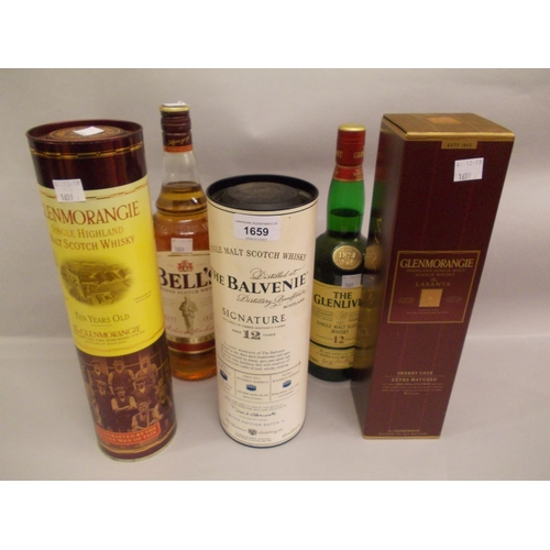 1659 - Four bottles of single malt whisky, the Balvenie, two Glenmorangie and one Glenlivet together with o...