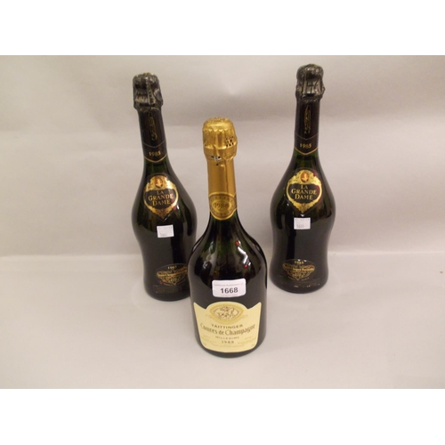 1668 - One bottle Tattinger champagne 1988, together with two bottles Veuve Cliquot champagne 1985...