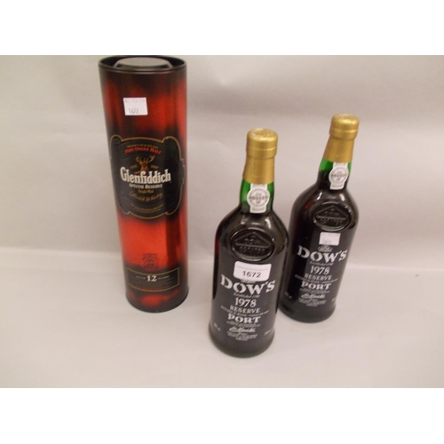 1672 - Two bottles Dows 1978 vintage port, together with one boxed bottle Glenfidich twelve year old single...