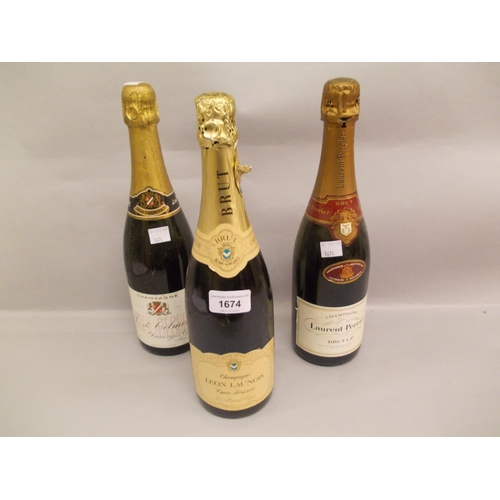 1674 - Two bottles of champagne, Leon Launois and a bottle of Laurent Perrier champagne, another F.D.E. Cel...