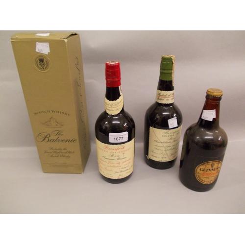 1677 - Two bottles, Berisford Solera sherry, one bottle, Balvenie malt whisky and one early bottle of Guinn...