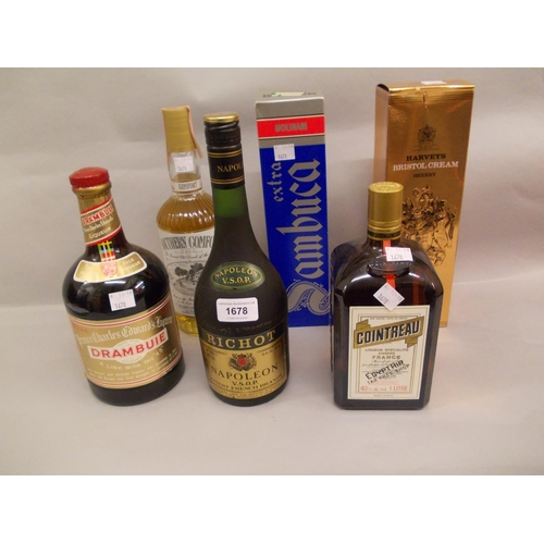 1678 - One bottle, Richot Napoleon brandy, together with a quantity of other spirits and liqueurs...