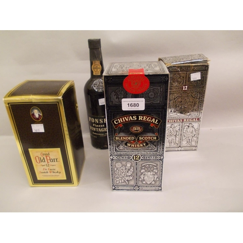 1680 - Two boxed Chivas Regal twelve year old whisky, together with a boxed Grand Old Parr twelve year old ...