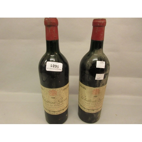 1681 - Two bottles, Chateau Gazin Grand Cru Pomerol, 1959...