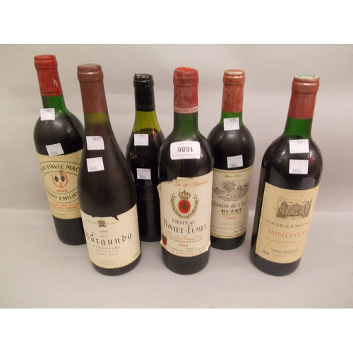 1686 - One bottle of Chateau Pontet Fumet 1985, one bottle of St. Emilion 1986 and four various other bottl...