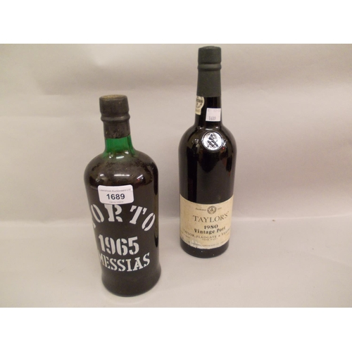 1689 - One bottle Porto Messias 1965, together with one bottle Taylors 1980 vintage port...