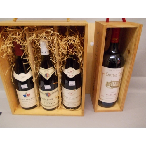 1696 - Chateau Tretis 1995 Bordeaux Magnum red wine, Savigny les Beaune 1990 red wine, Chablis Premier Cru,...