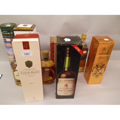 1697 - Boxed bottle of Laurent Perrier champagne, another Pol Roger champagne, Dimple Scotch whisky and var...