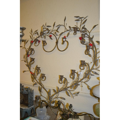 1798 - Late 20th Century metal wall sconce in the form of a heart with foliate design...