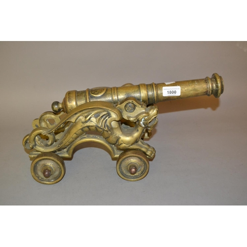 1800 - 20th Century cast brass model of a cannon on a carriage...