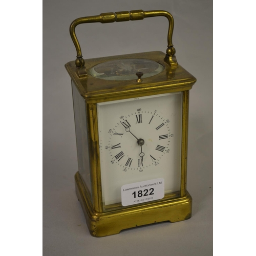 1822 - Late 19th or early 20th Century gilt brass cased carriage clock, the enamel dial with Arabic and Rom...