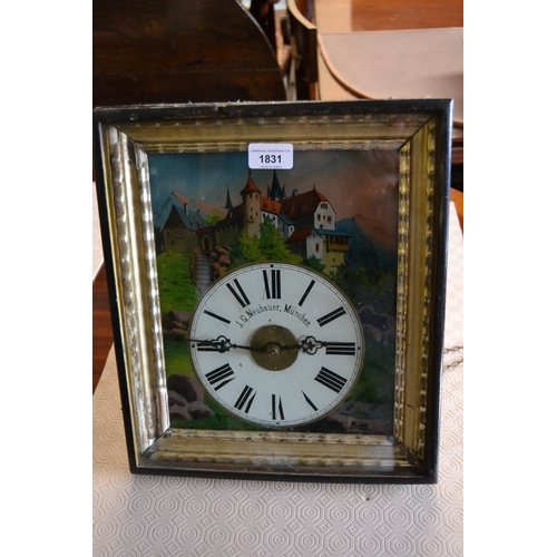 1831 - 19th Century German wall clock, the rectangular dial with reverse printed landscape, the dial inscri...