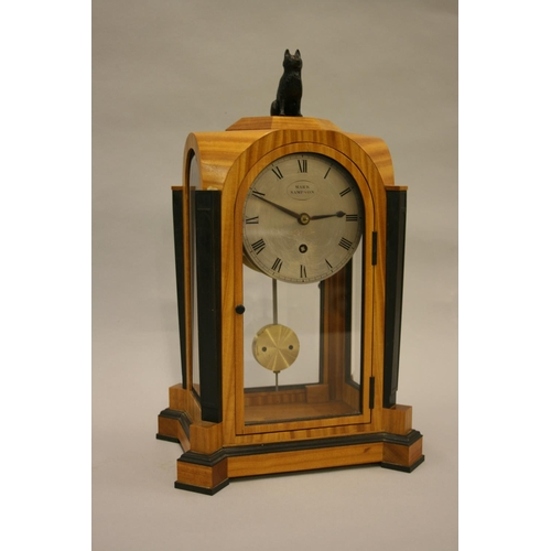 1835 - David Linley Furniture, satinwood and ebony mounted dome shaped mantel clock with brown patinated do...