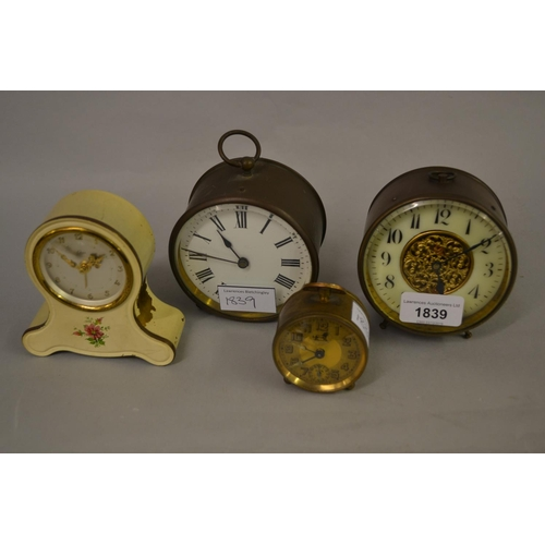1839 - Two small 19th Century brass cased drum clocks, together with two alarm clocks...