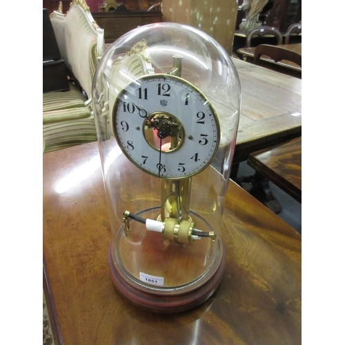1851 - Bulle electric mantel clock, the painted dial with Arabic numerals and visible escapement on a brass...
