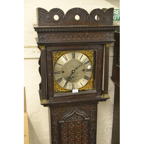 1854 - 19th Century oak longcase clock having brass and silvered dial with three train weight driven moveme...