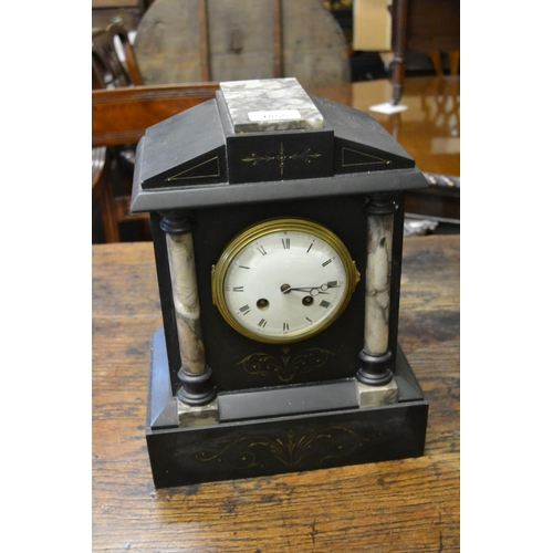 1855 - 19th Century black slate and marble mantel clock, the enamel circular dial with Roman numerals and t...
