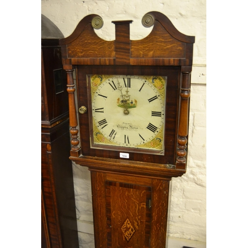 1856 - 19th Century oak longcase clock, the hood having square dial and broken arch pediment flanked by pil...