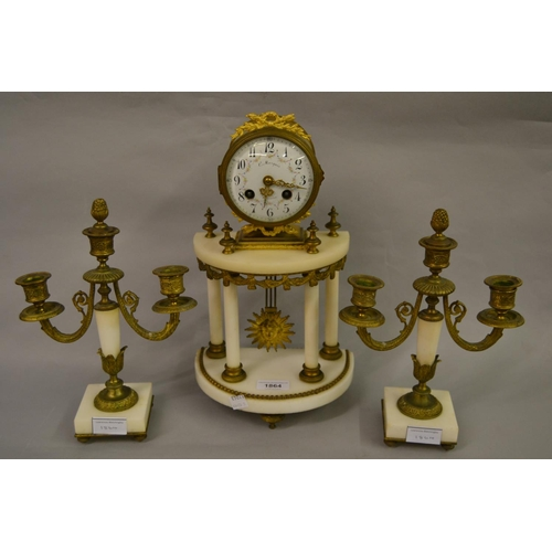 1864 - 19th Century French ormolu and white alabaster clock garniture, the painted enamel dial with Arabic ...