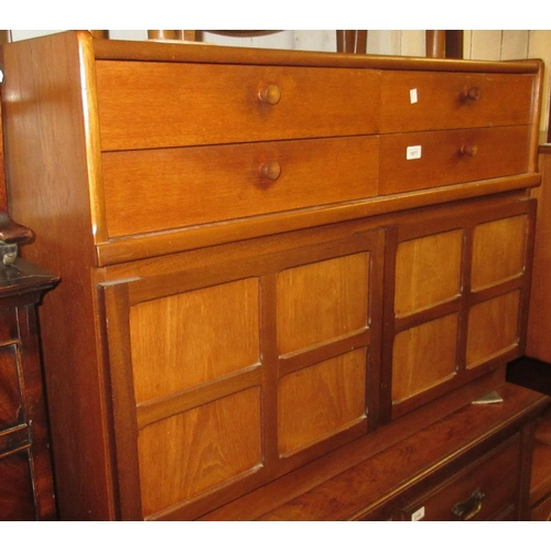 1877 - Nathan Furniture dining suite comprising:  sideboard with four short drawers above panelled doors, a...