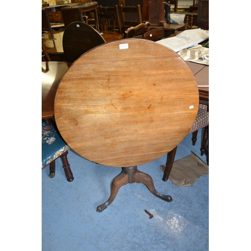 1878 - 19th Century mahogany circular pedestal table with a vase turned column support and tripod base...