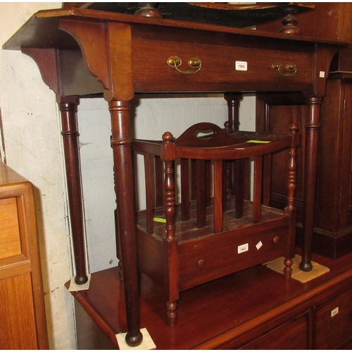 1884 - Small late 19th Century mahogany writing table with a leather inset top above a single drawer with b...