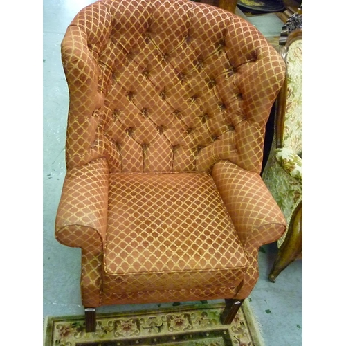 1894 - Reproduction button upholstered wing armchair in 18th Century style on square cut moulded supports w...