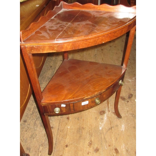 1900 - George III mahogany corner washstand and a mahogany three tier folding cake stand...