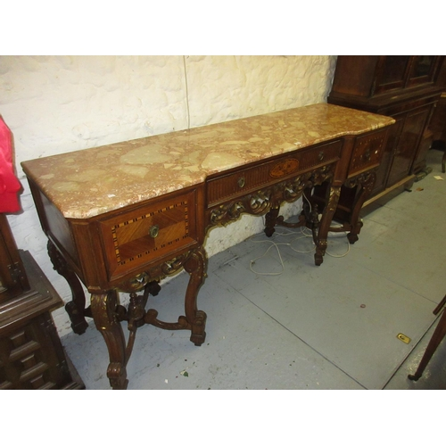 1914 - Early to  mid 20th Century Italian kingwood and marquetry inlaid sideboard with a two piece marble t...